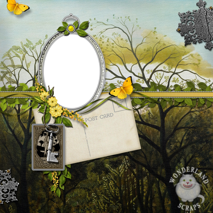 Vintage Jungle Butterfly Scrapbooking Layout