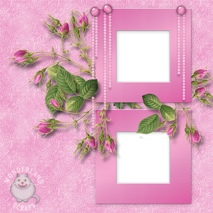 Baby Pink Roses and Pearls Free Scrapbooking Layout