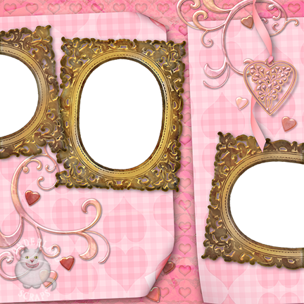 Valentine's Day Pink Hearts and Gold Frames Scrapbooking Layout