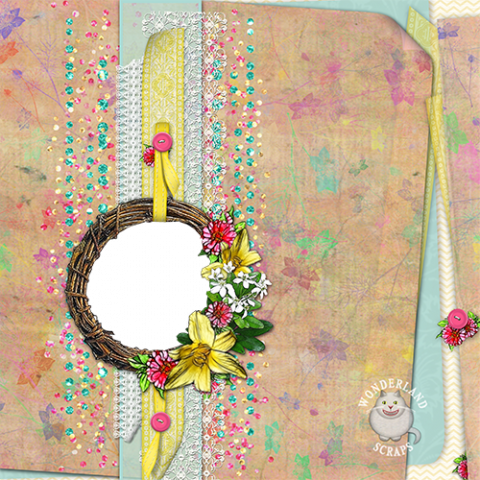 Grapevine Wreath Vintage Yellow and Pink Layout