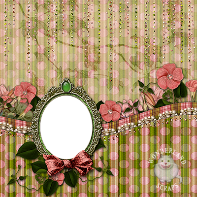 watermelon theme pink and green scrapbooking layout